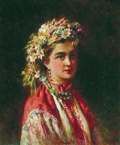 Girl wering a Crown - Konstantin Makovsky