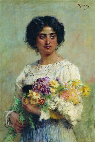 Girl with a bouquet, 1876 - Konstantin Makovsky
