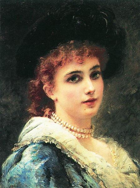 Parisienne in pearl necklace, c.1890 - Konstantin Makovsky
