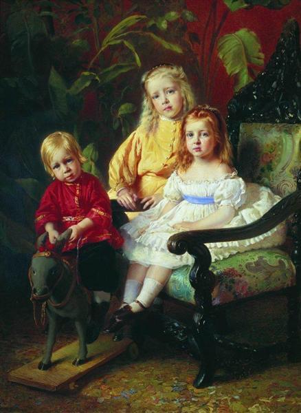 Portrait of Children Stasovy, c.1870 - Konstantin Makovsky