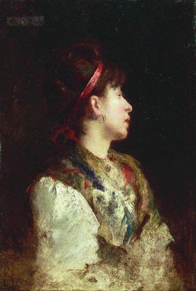 The girl with the red ribbon, c.1900 - Konstantin Makovsky