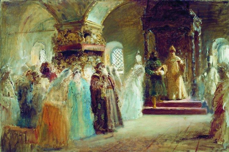 Tsar Alexei Michaylovich choosing a bride, 1887 - Konstantin Makovsky