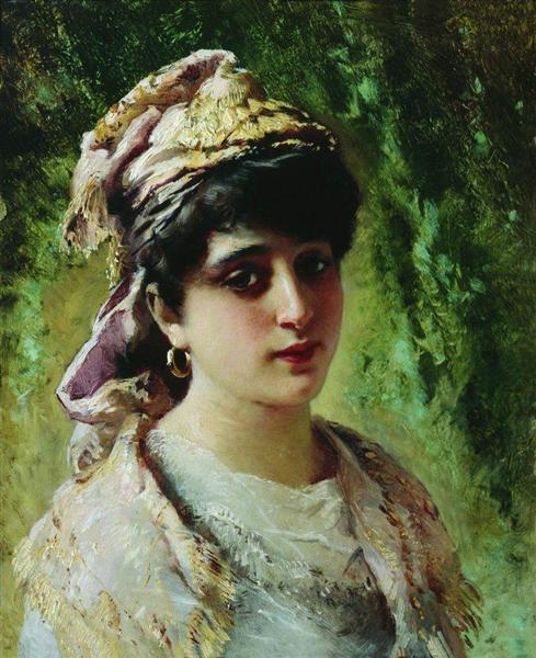 Woman Head, c.1890 - Constantin Makovski