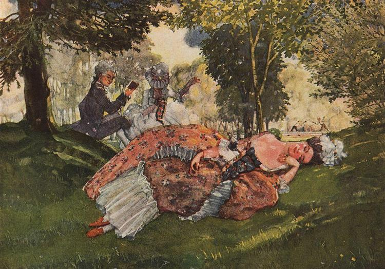 Asleep on the Grass Young Woman, 1913 - Konstantin Somov