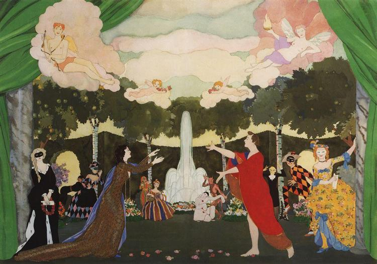 The Curtain Sketch for the Free Theater in Moscow, 1913 - Konstantin Somov