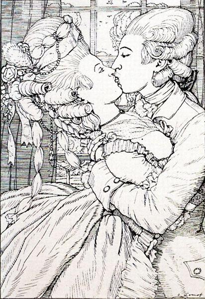 The Kiss. Illustration to the Book of the Marquise, 1908 - Konstantin Andrejewitsch Somow