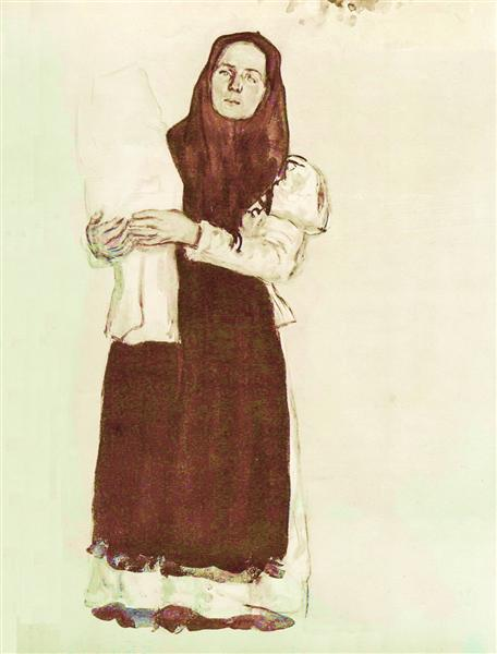 A young peasant woman in a red scarf, 1910 - Konstantin Yuon