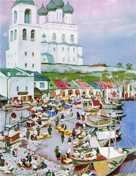 Near The Pskov's Cathederal, 1917 - Konstantin Yuon