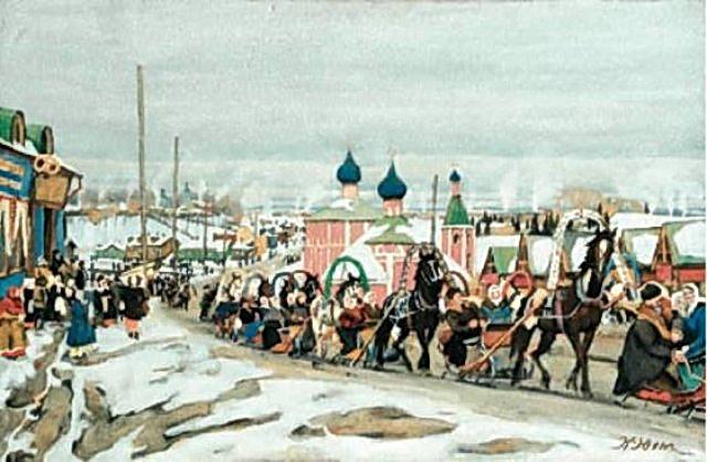 Pancake riding. Sergiev Posad, 1921 - Konstantin Yuon