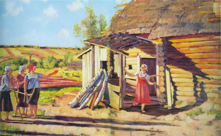 The first collective farmers. In the rays of of the sun. Podolina. Mosk. reg., 1928 - Konstantin Yuon