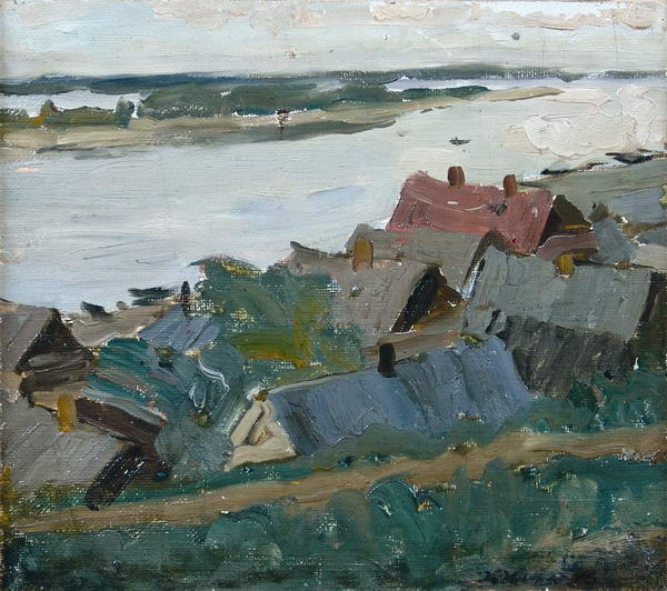 The Village on The River - Konstantin Yuon