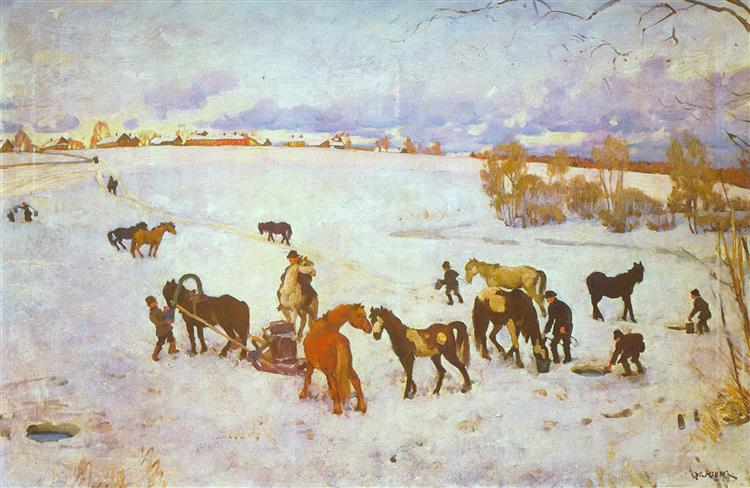 Watering. Ligachevo, 1916 - Konstantin Yuon