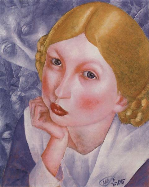 Portrait of Ria (Portrait of A.A. Kholopova), 1915 - Kuzma Petrov-Vodkin