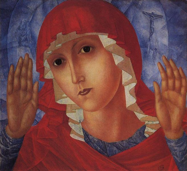 Virgin of Tenderness evil hearts, 1914 - 1915 - Kuzma Petrov-Vodkin