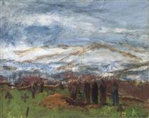 Burial in the Carpathian Mountains - Laszlo Mednyanszky