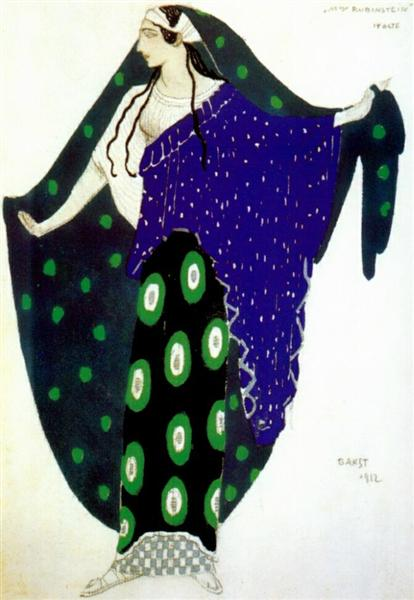 Helene de Sparte Ida Rubinstein in act IV, 1912 - Léon Bakst