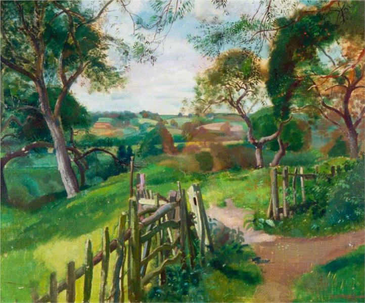 Path and Gate in a Landscape, 1922 - Leon Underwood