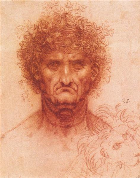 Old man with ivy wreath and lion's head, c.1494 - c.1519 - Leonardo da Vinci