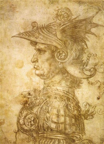 Profile of a warrior in helmet, c.1472 - Leonardo da Vinci