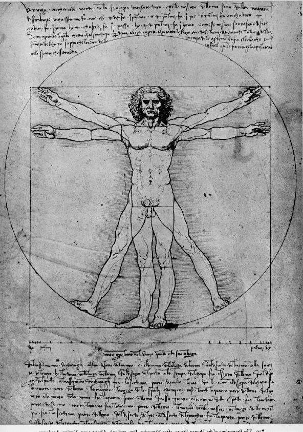 The proportions of the human figure (The Vitruvian Man), 1492