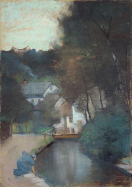 Häuser am Fluss mit einer waschenden Frau, 1894 - Лессер Ури