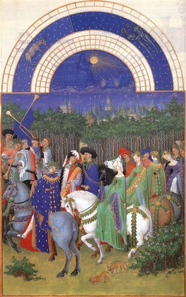 Facsimile of May: Celebrating May Day Near the Town of Riom in the Auvergne, c.1415 - Limbourg brothers
