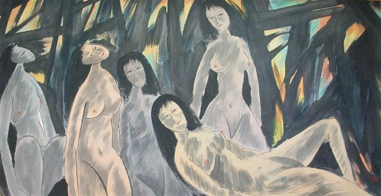 Five Naked Ladies - Lin Fengmian