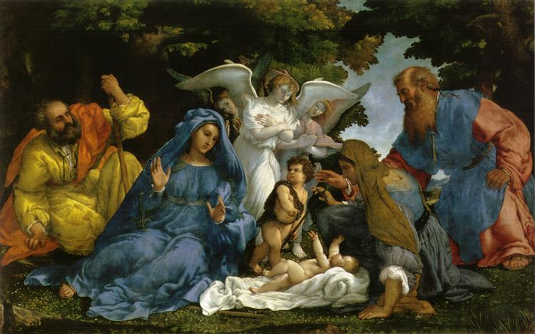 Holy Family with angels and saints, 1536 - Лоренцо Лотто