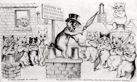 A FREE LECTURE IN CATVILLE THE LEARNED PROFESSOR WAS EXPOUNDING HIS THEORIES TO AN ATTENTIVE AUDIENCE - Louis Wain