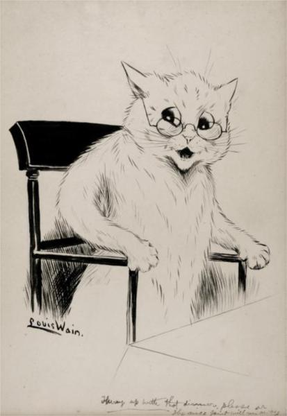 HURRY UP WITH THAT DINNER PLEASE OR THE MICE JOINT WILL RUN AWAY - Louis Wain
