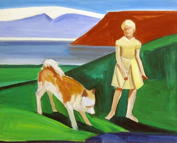 Girl with Dog, 1987 - Louisa Matthiasdottir