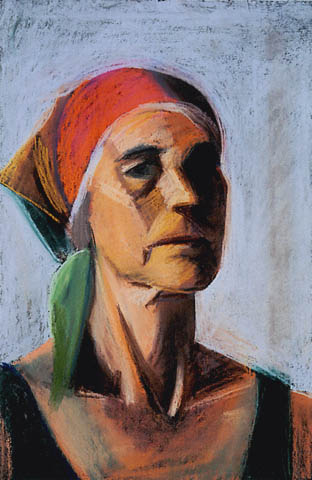 Self Portrait with Red Kerchief, 1990 - Louisa Matthiasdottir