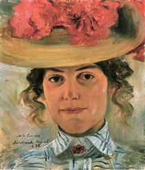 Woman's Half Portrait with Straw Hat (Luise Halbe) - Lovis Corinth