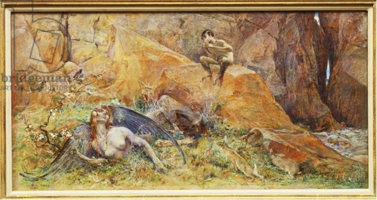 Pan and Chimera (oil on panel) - Люк-Олів'є Мерсон