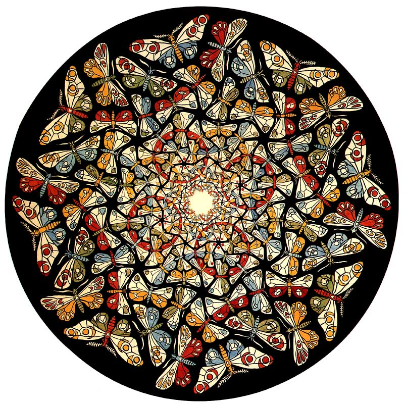 Circle Limit With Butterflies on M C Escher Tessellations