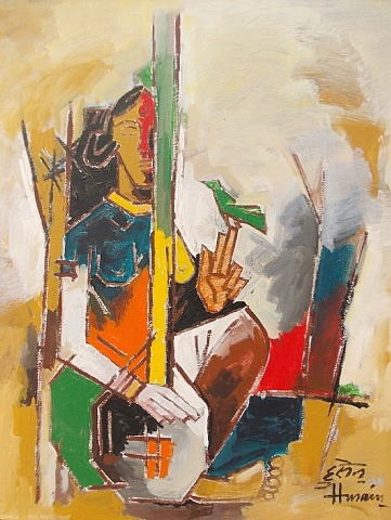 Lady with Veena, 1979 - M.F. Husain