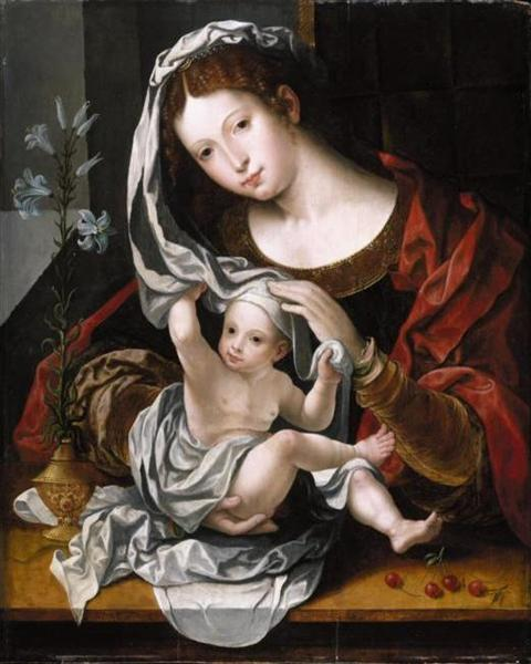 Madonna and Child playing with the veil - Mabuse