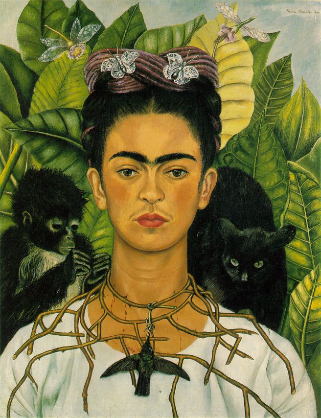 Frida Kalo Self-portrait-with-necklace-of-thorns-1940
