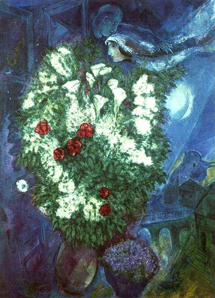Bouquet with flying lovers, c.1947 - Marc Chagall