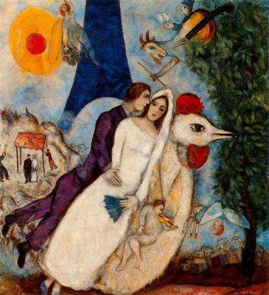 The betrothed and Eiffel Tower - Chagall Marc