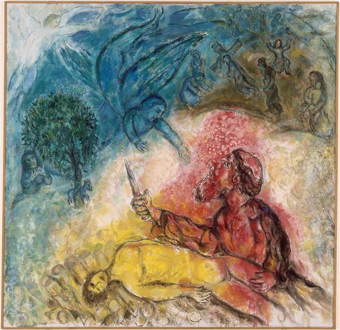 The sacrifice of Isaac, 1966 - Marc Chagall - WikiArt.org Chagall Crucifixion