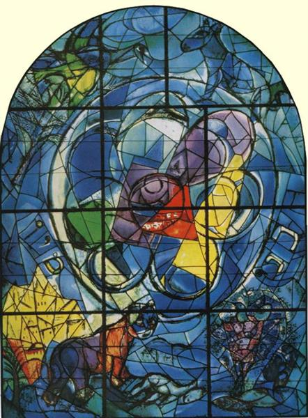 The Tribe of Benjamin. Stained glass window for the synagogue of the Hadassh Hebrew University Medical Center in Jerusalem., 1962 - Marc Chagall