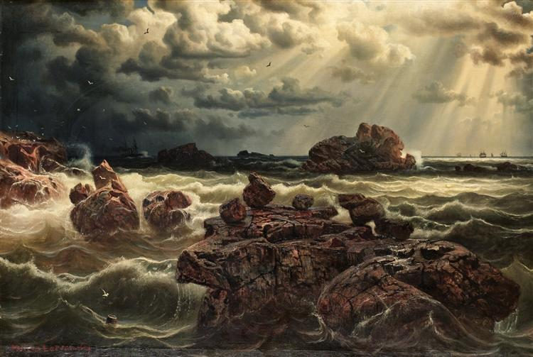 Kustlandskap med fartyg vid horisonten - Marcus Larson
