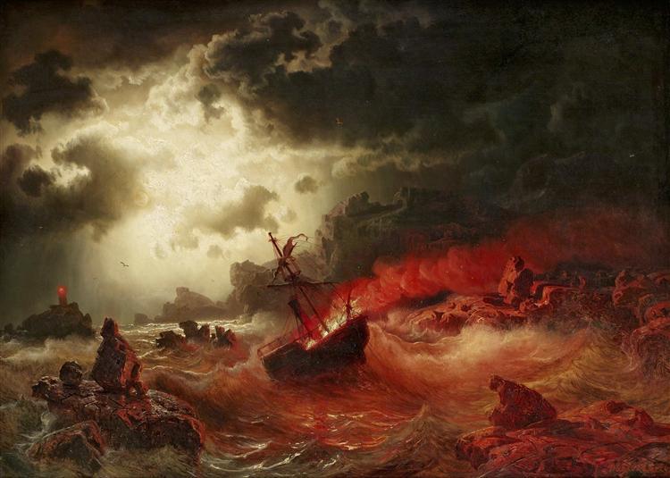 Nattlig marin med brinnande fartyg - Marcus Larson