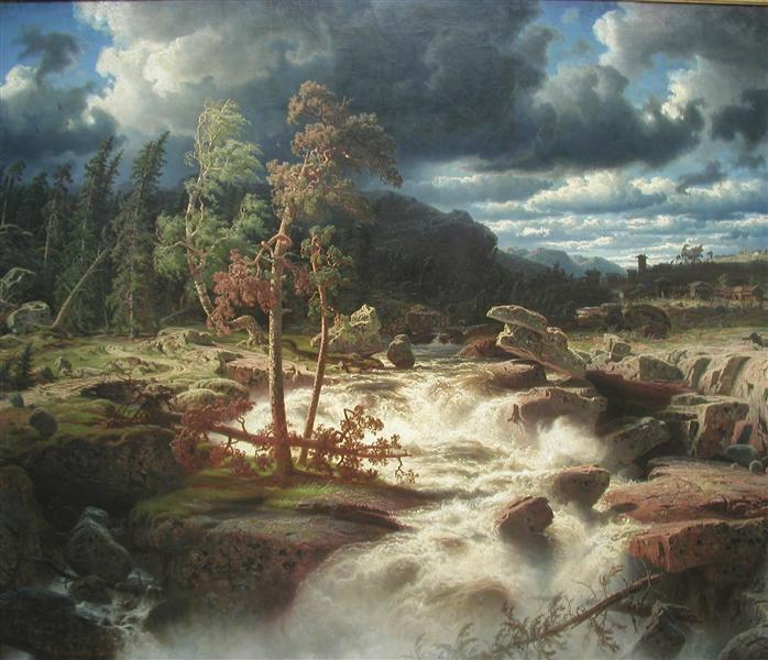 Waterfall in Småland, 1856 - Marcus Larson