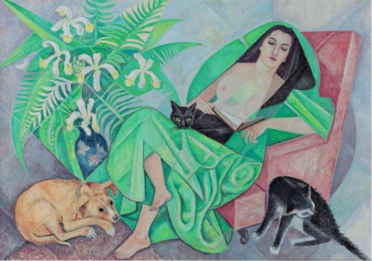Marika with her dog and cats, 1968 - Marevna (Marie Vorobieff)