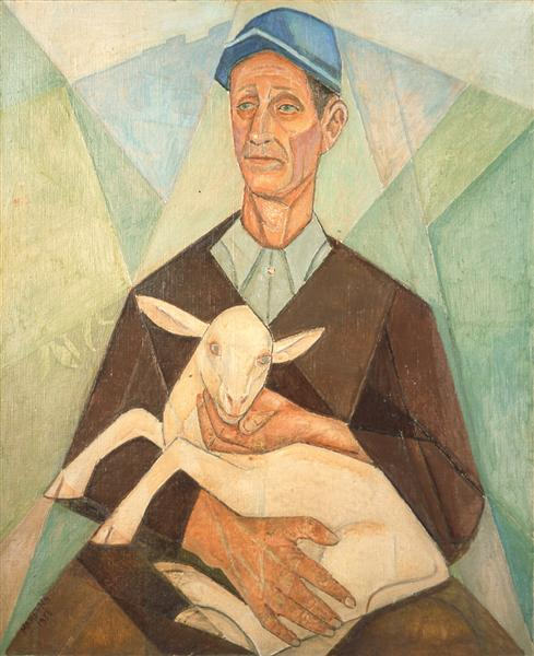 Peasant Farmer with his Goat, 1953 - Marevna (Marie Vorobieff)