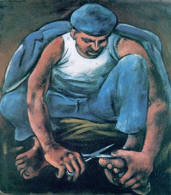 Mann, der sich die Fussnägel schneidet, 1958 - Mario Comensoli