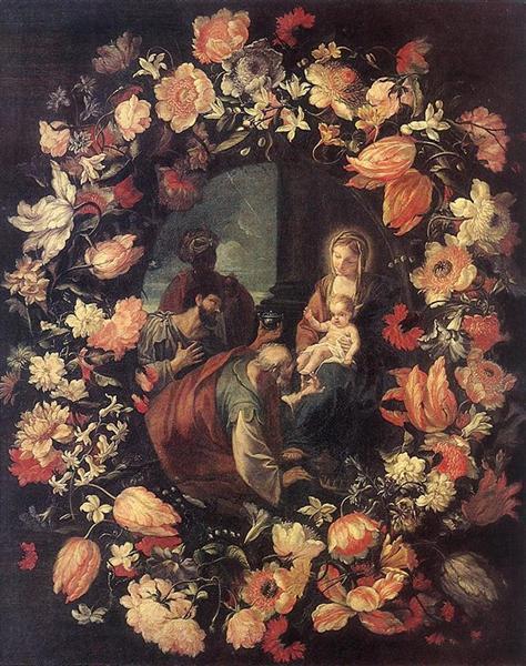 Adoración de los Magos en una guirnalda de flores, 1654 - Mario Nuzzi