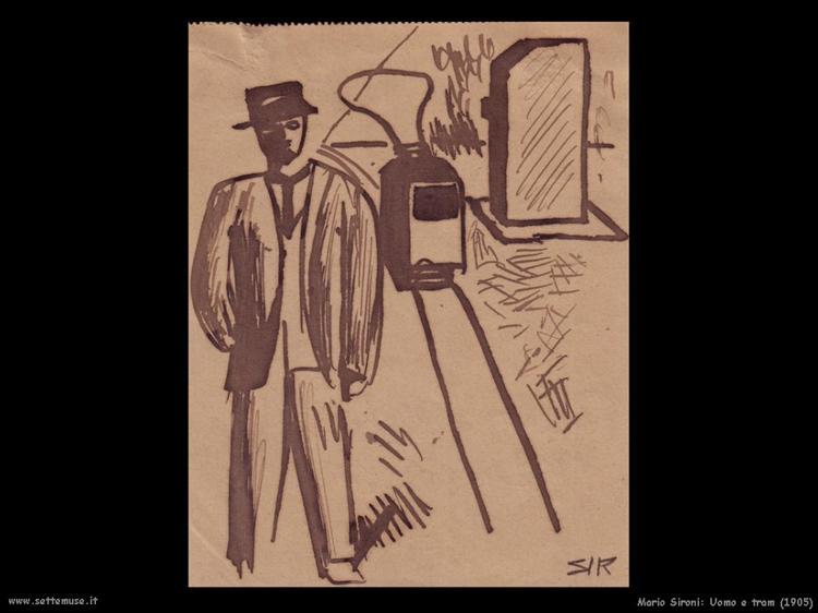 Man and tram, 1905 - Mario Sironi